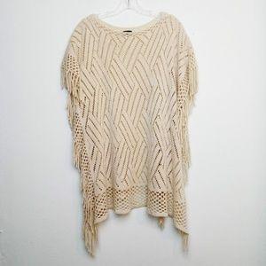 Vintage Knit Poncho Fringe Boho Cream Crochet